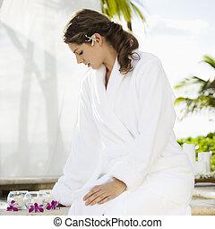 Woman at spa.