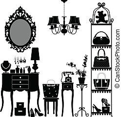 A scenario or interior design of a woman's room with accessories in silhouette.