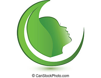 Woman face and leaf logo