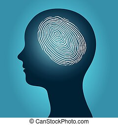 Woman head with an enclosed fingerprint