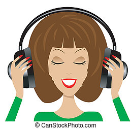 woman in headsets on a white background, vector illustration