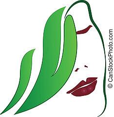 Woman leafs fashion girl logo