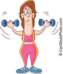 Cartoon woman lifting dumbbells