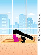 Woman practicing Yoga Plough pose