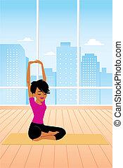 Woman practicing Yoga Sitting