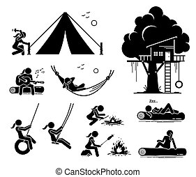 Woman recreational pursuit at outdoor stick figure icons.