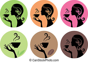 woman with coffee and tea, vector