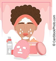 woman with cosmetic face mask, cleansing treatment and beauty routine