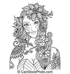 Beautiful forest fairy for coloring book for adult