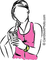 woman with intelligent phone illustration