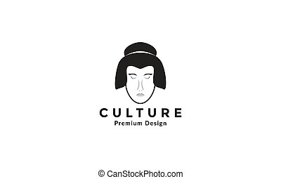 women head japan culture logo symbol vector icon illustration design