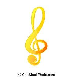 Wonderful design of a golden musical key