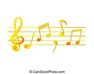 Wonderful design of golden musical notes