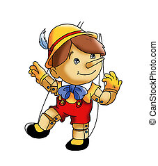 colored illustration of Pinocchio