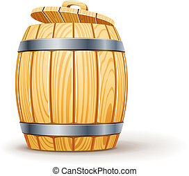 wooden barrel with lid vector illustration isolated on white background