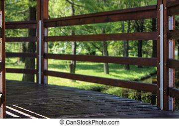 Wooden bridge focused