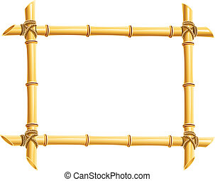 wooden frame of bamboo sticks vector illustration isolated on white background