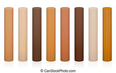 Wooden Posts Different Colors Textures