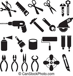 Hand tools - set of vector icons. Isolated black symbols on white background. Work tools signs, pictograms.