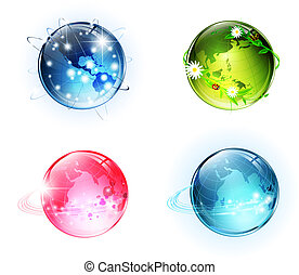 World conceptual glossy globes