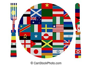 Isolated knife, fork and plate covered in world flags