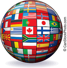 World Flags Globe. Vector Image