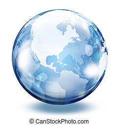 World map in a glass sphere
