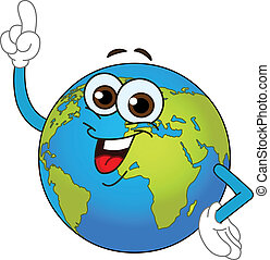 Cartoon world globe pointing with his finger