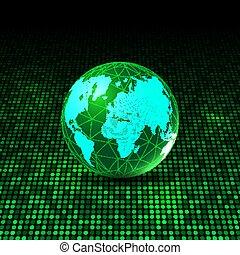 world globe on glowing dots background 1105