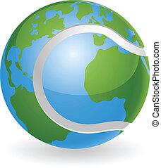 World globe tennis ball concept