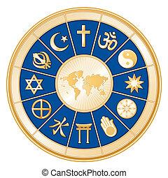 World Religions surrounding earth map: Islam, Christianity, Hinduism, Taoism, Baha'i, Buddhism, Jain, Shinto, Confucianism, Native Spirituality, Judaism, Sikh. Blue background. EPS8 compatible.