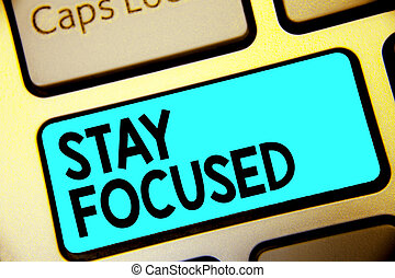Writing note showing Stay Focused. Business photo showcasing Be attentive Concentrate Prioritize the task Avoid distractions Keyboard blue key Intention computer computing reflection document.