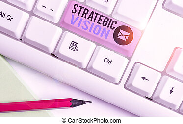 Writing note showing Strategic Vision. Business photo showcasing clarifies the direction the organisation needs to move.