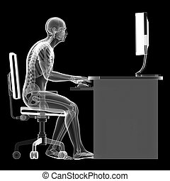 3d rendered illustration of a man working on pc - wrong sitting posture