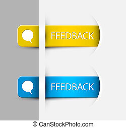 Yellow and blue Feedback Labels / Stickers on the edge of the (web) page