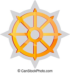 Yellow Buddhist symbol vector illustration on a white background