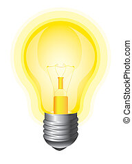 yellow bulb isolated over white background. vector illustration