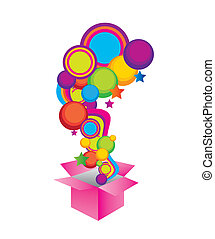yellow, violet, blue, green and pink surprise box isolate over white background