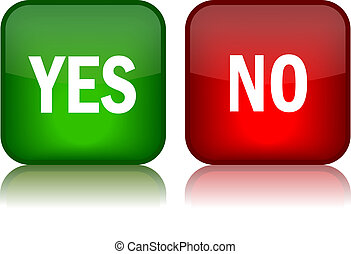 Yes and no vector buttons over white