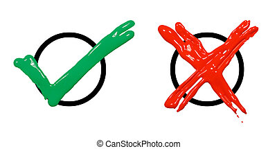 A green check mark and red cross are located on a white background.