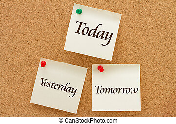 Yesterday, Today and Tomorrow, Three yellow sticky notes on a cork board with the words Yesterday, Today and Tomorrow