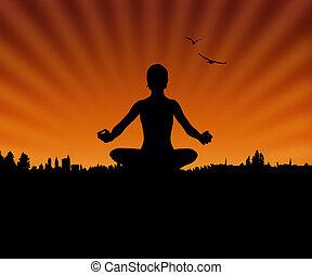 Yoga and sunset