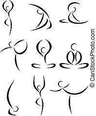 Yoga art symbol set