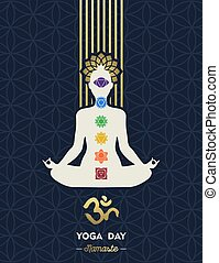 Yoga Day card of gold woman in lotus pose