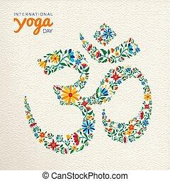 Yoga day card of om india spiritual symbol