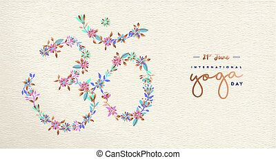 Yoga day web banner of om india spiritual symbol
