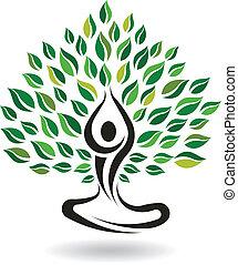 Yoga Easy Pose Tree, Logo Vector