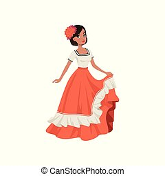 Young beautiful mexican woman in traditional national dress vector Illustration isolated on a white background.