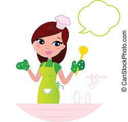 Cooking Mother showing something about cooking. Vector cartoon illustration.