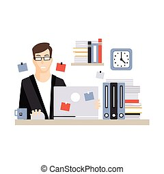 Young businessman character sitting at the computer desk with laptop working and drinking tea, daily life of office employee vector Illustration
